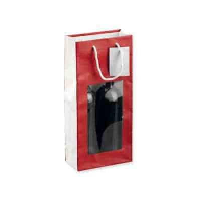 Sac papier personnalisé en art papier avec fenêtre transparente et poignées coton