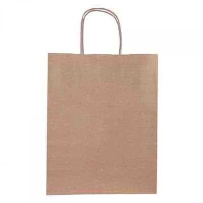 Grand sac kraft publicitaire en kraft brun avec poignées torsadées